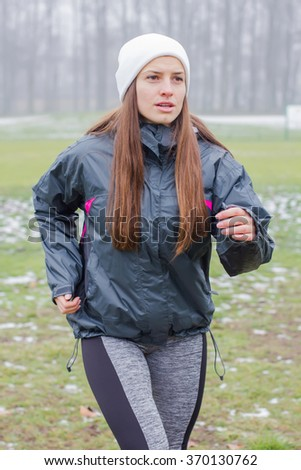 Fitness Sporty Young Woman, Running outdoor in winter