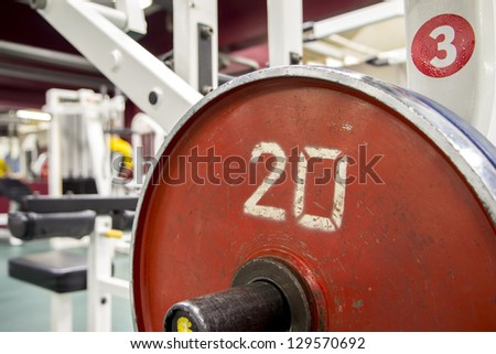 Fitness weights equipment training in the gym room - stock photo