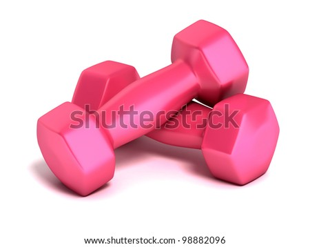 fitness weights on white background - stock photo