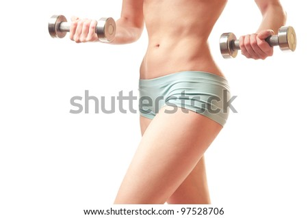 fitness with dumb-bells. thin waist - stock photo