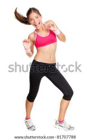 Fitness woman dancing isolated on white in full body. Beautiful, happy and smiling young female fitness instructor during dance class. Mixed race Caucasian Asian female fitness model. - stock photo