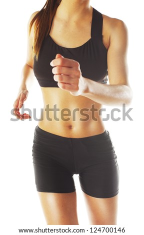 Fitness woman exercising aerobic / Caucasian female fitness - stock photo