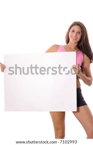 Fitness woman holding blank sign vertical