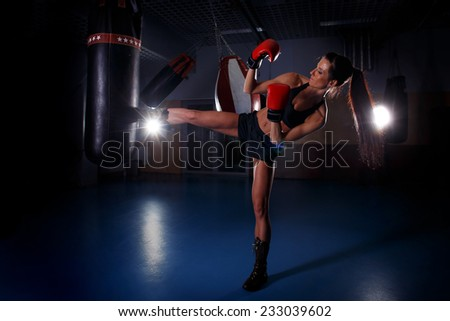Fitness woman in action - stock photo