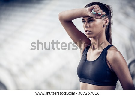 Fitness woman on stadium
