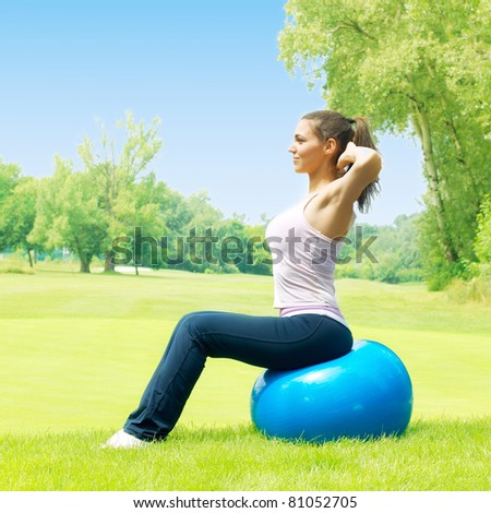 Fitness woman outdoors. - stock photo