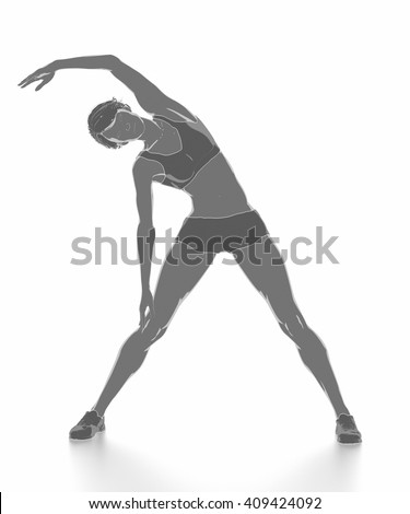 Fitness woman stretching on white isolated - warm up concept - stock photo