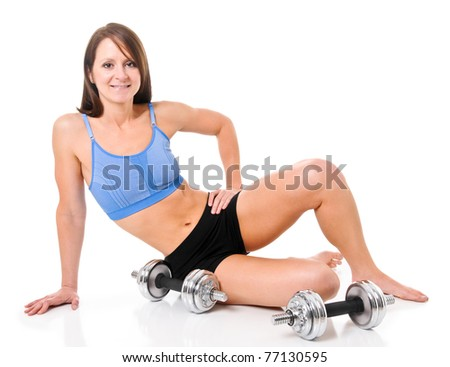 Fitness Woman with Weights in Studio - stock photo