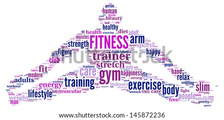 FITNESS. Word collage on white background - stock photo