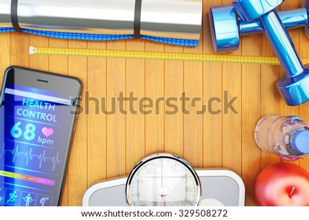 Fitness workout, slimming exercises, weight loss training, diet eating and healthy lifestyle concept, mobile phone with health monitoring app and gym equipment on wooden floor - stock photo