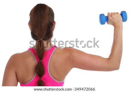 Fitness workout woman exercise back view shoulder sports with dumbbells isolated on a white background
