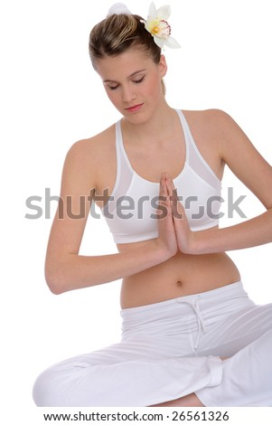 Fitness – Young healthy woman in yoga position on white background