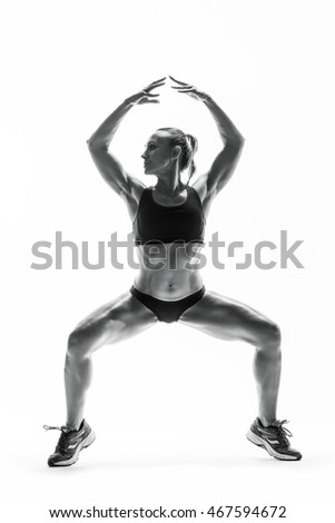 Fitness young woman in sports wear doing workout fitness aerobic exercise