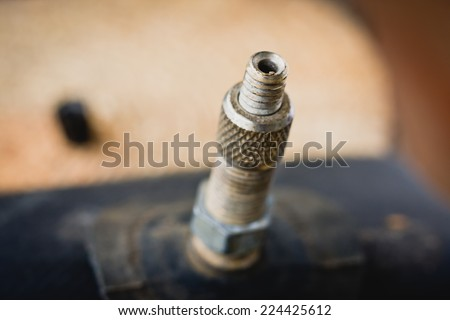 Fitting bicycle inner tube - stock photo