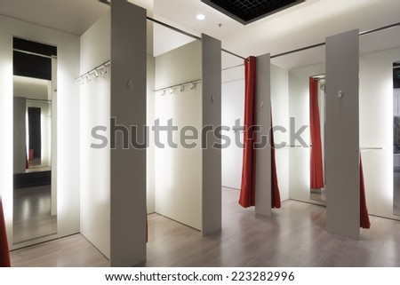 Fitting room interior in a mall. Nobody - stock photo