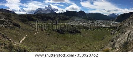 Fitz Roy above El Chalten, Argentina - stock photo