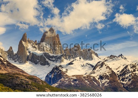 fitz roy mountain, mountains landscape, patagonia, south america, argentina, glacier in mountains