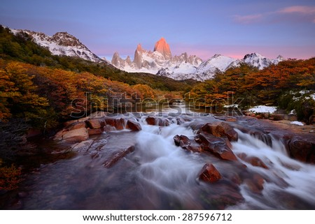 Fitz Roy mountain with the stream in the foreground, Los Glaciares, Argentina - stock photo