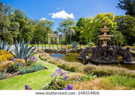 Fitzroy Gardens near Melbourne CBD on a hot summer's day - stock photo
