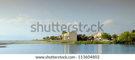 fium alto river and beach of folleli in corsica - stock photo