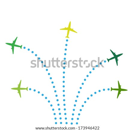 Five airplanes - stock photo