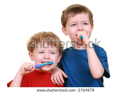 five and three years old boy with tooth-brushes isolated on white