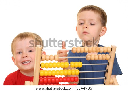 five and three years old boys with abacus isolated on white - stock photo
