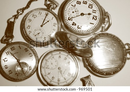 Five Antique Pocket Watches - stock photo