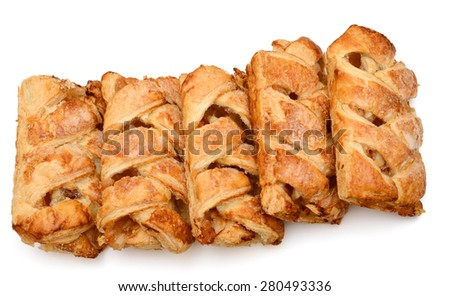 five apple pies in row on white background