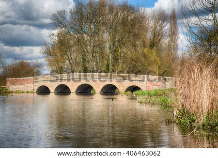 Five Arches Bridge over the river Cray in Sidcup,Kent,UK - stock photo