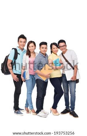 Five Asian classmates - stock photo