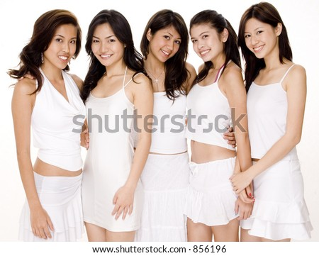 Five beautiful young asian women in white outfits on white background