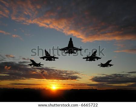 Five bombers over orange sunset - stock photo