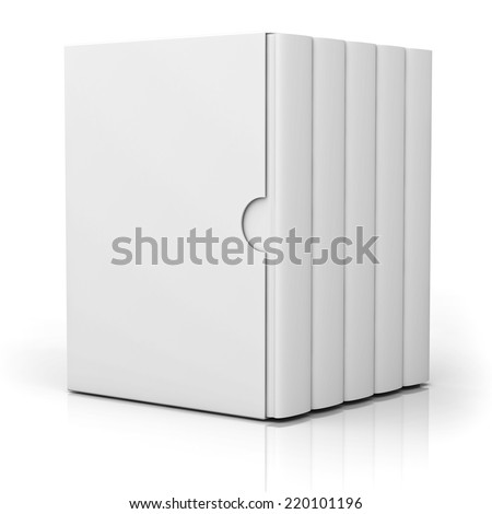 Five books with blank box cover standing isolated on white background with reflection