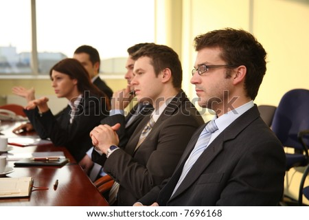 five business people at the debate - stock photo