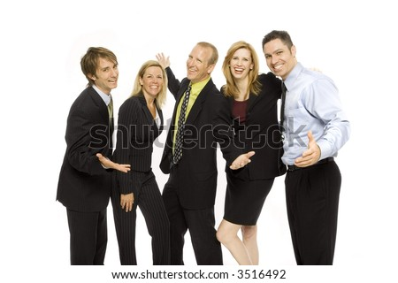 Five business people stand together happily - stock photo