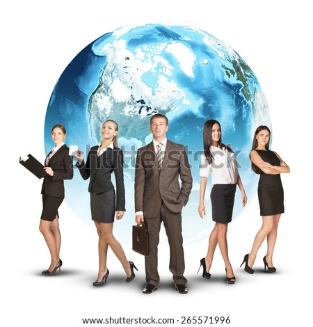 Five business person standing wedge. Earth as backdrop. White background. Elements of this image furnished by NASA - stock photo