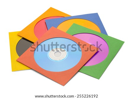 FIve CDs in Case in Pile Isolated on a White Background. - stock photo