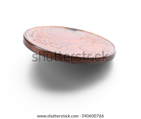 Five cent coin isolated on white background - stock photo