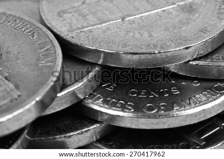 five cent coins, extra close up