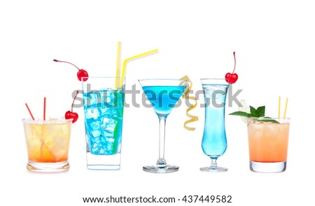 Five cocktails with alcohol margarita cocktail martini blue hawaian Iced tea with maraschino cherry isolated on a white background - stock photo