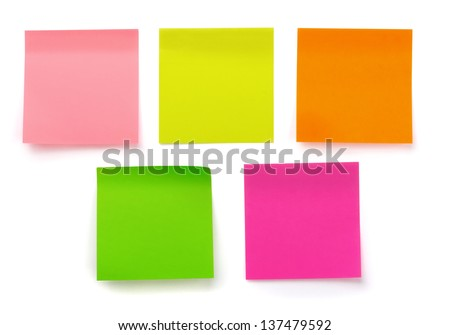 Five color blank sticky notes isolated on white