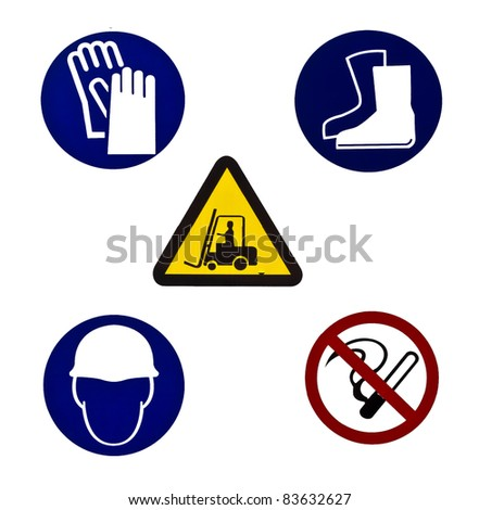 Five color Warning sign for industrial use isolated on white background - stock photo