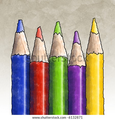 Five colored pencils in a row pointing up in several bright colors