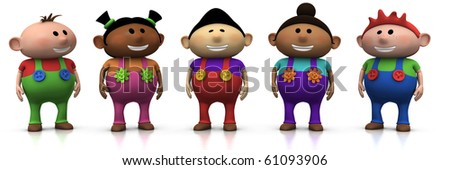 five colorful multi-ethnic cartoon kids with big smiles on their faces -  3d rendering/illustration - stock photo