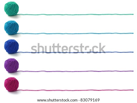 five colors of yarn balls , knitting banner design on white background