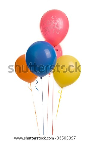 Five colourful ballons image on white bacground