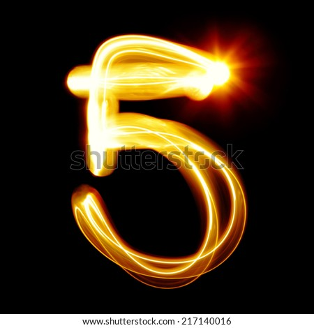 Five - Created by light numerals over black background - stock photo