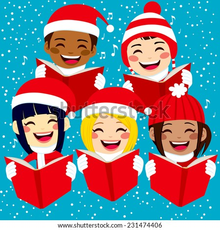 Five cute happy children singing Christmas carols with snowflakes and notes on background - stock photo