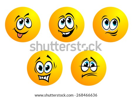 Five cute yellow round  emoticons with blue eyes showing a range of expressions including fear, disappointment, bashful, smiling and toothy laughter - stock photo